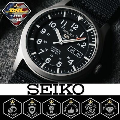 $ CDN184.13 • Buy Genuine Seiko 5 Sport Automatic Black Canvas Strap Men's Watch SNZG15 SNZG15K1