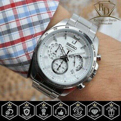 $ CDN280.01 • Buy Seiko SSB297P1 SSB297 Chronograph Men's Stainless Steel Watch White Dial 100m