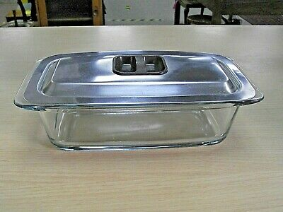 Ekco Hostess Trolley Glass Dish With Stainless Steel Lid • 12£