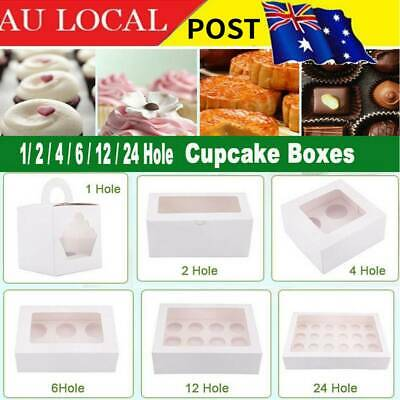 AU15.98 • Buy Cupcake Box Cases 1/ 2 Hole 4/ 6 Hole 12/ 24 Hole Window Face Cases Party Gift