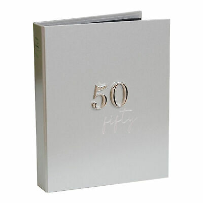 £11.99 • Buy 50th Birthday Photo Album - Holds 48 5x7 Pictures - Number Attachment - Silver