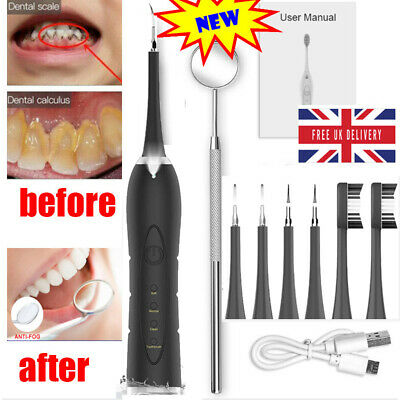 Electric Ultrasonic Tooth Cleaner Dental Stain  Plaque Tartar Remover +2Brush • 16.99£