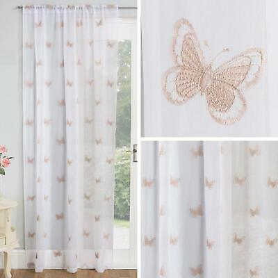 £12.95 • Buy Natural Voile Curtain Butterfly Embroidered Slot Panels Rod Pocket Sheer Voiles