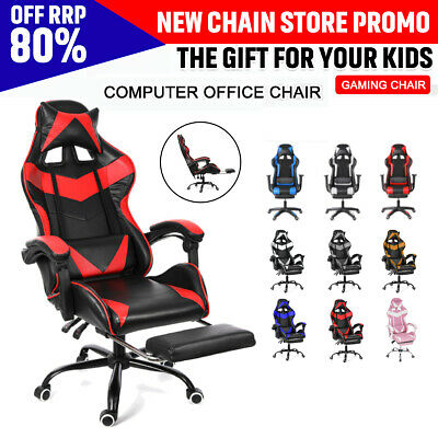 AU136.88 • Buy Computer Gaming Chair Executive Office Recliner Chair Racer Swivel Leather Chair