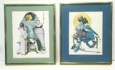 $ CDN27.53 • Buy Norman Rockwell  Going Out  & Little Spooners Prints 9.5 X 7.5 Gold Framed 12x10