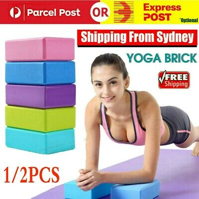 AU12.99 • Buy 1/2PCS Yoga Block Brick Foaming Home Exercise Practice Fitness Gym Sport Tool