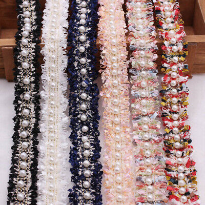 £3.76 • Buy UK Lace Trim Embroidered Fabric Ribbon Pearl Beaded Sewing Supplies DIY Craft