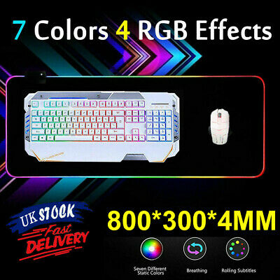 Large RGB LED Gaming Mouse Pad Glowing Keyboard Desk Mat For PC Laptop Computer • 12.92£
