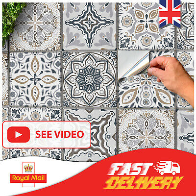 24 Grey Kitchen Tile Stickers 6x6 Bathroom Victorian Wall Tile Transfers Mosaic • 6.99£