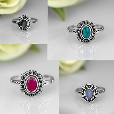 925 Sterling Silver EMERALD RUBY TURQUOISE Gemstone Ladies Ring Jewellery Gift • 9.99£