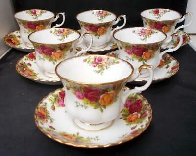 Set Of 6 Royal Albert Old Country Roses Tea Cups And Saucers, 1962 Mark • 75£