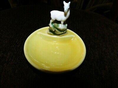 Collectable Wade Yellow Porcelain Whimtrays Pin Tray & White Llama Whimsy • 12.50£