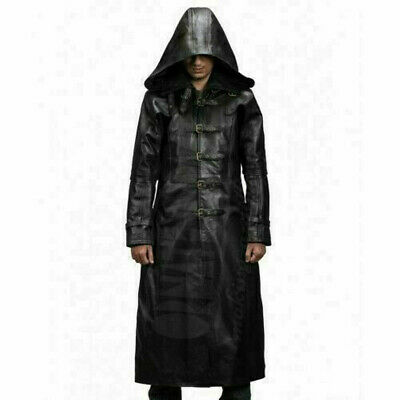 Mens Black Leather Trench Steampunk Gothic Matrix Terminator Hooded Coat Jacket • 119.95£