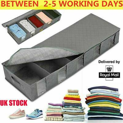 5 Compartments Under Bed Storage Bag Large Capacity Clothes Shoes Organizer Box • 6.89£