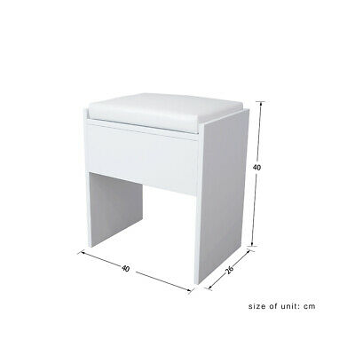 Dressing Table Stool Makeup Bench Cushioned Chair Piano Seat Soft Bedroom White • 14.99£