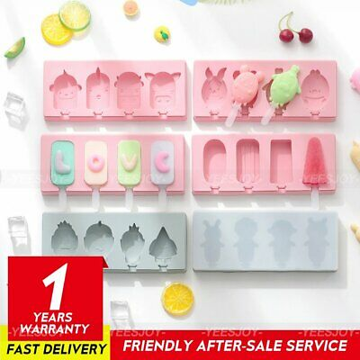 £5.88 • Buy 4Hole Frozen Ice Cream Pop Mold Kitchen Popsicle Maker Lolly Cake Mould Tray DIY