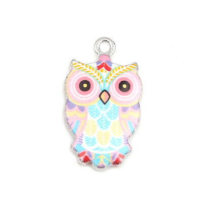 10 Lovely Pastel Coloured Pink, Blue, Yellow Owl Silver Tone Pendant Charms  • 6.60£