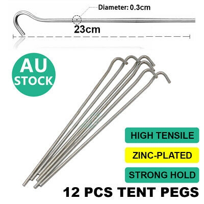 AU12.98 • Buy 12PCS Tent Sand Pegs Heavy Duty Steel ALU Canopy Stakes Nail Outdoor Camping
