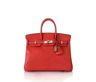 AU18500 • Buy Hermes Birkin 25 Vermillion Red Swift Leather PHW – Stamp X (2016)