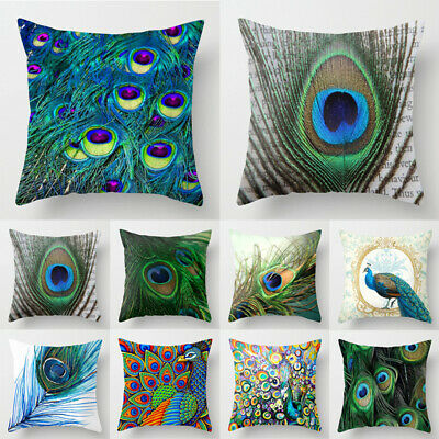 Hot Peacock Feather Cotton Linen Throw Pillow Case Sofa Cushion Cover Home Decor • 4.99£