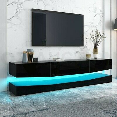 AU249.95 • Buy 200CM RGB LED TV Stand 2 Drawers Entertainment Unit Gloss Wooden Storage White