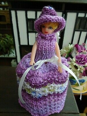 Hand Knitted Purples/White  Doll Toilet Roll Cover • 4.99£