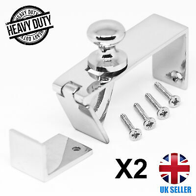 2x CHROME Silver Counter Flap Catches QUALITY Bar/Shop Counter Hinge With Screws • 17.97£