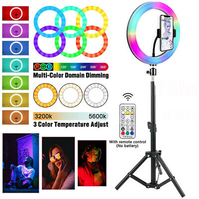 AU31.34 • Buy 13 Inch Dimmable LED Ring Light + 2.1m Tripod Stand Selfie Circle Lamp Make Up