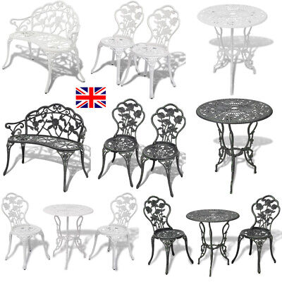 1/2/3 Pcs Bistro Table And Chairs Set Cast Aluminium Garden Outdoor Bench Patio • 167.37£