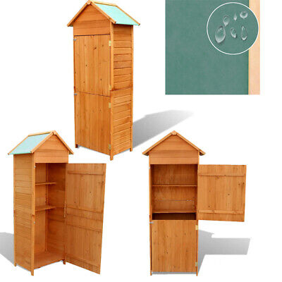 Outdoor Garden Shed Wooden Tool Storage Shelves Utility Cabinet Apex Roof 2 Door • 181.63£