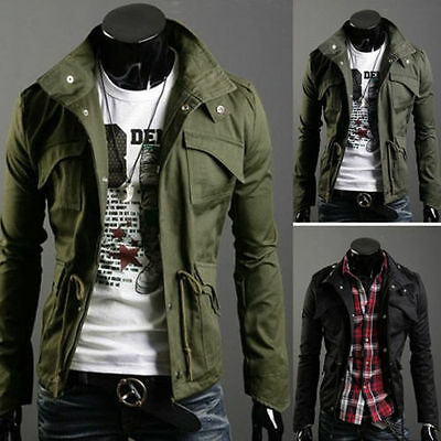 $27.81 • Buy Mens Slim Fit Military Style Jacket Stand Collar Coat Hoody Overcoat New Hot