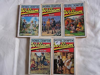 Richmal Crompton X 5 WILLIAM MacMillan Paperbacks OUTLAW/PIRATE/BRAINS TRUST ETC • 6.90£
