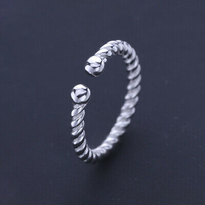 Sterling Silver 925 Solid Adjustable Open Band Thumb Ring Women Gift Finger D • 3.58£