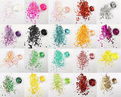 Glitter Pots Eye Shadow Lip Temp Tattoo Nail Craft Face Body Chunky Mix - 24 Set • 3.79£