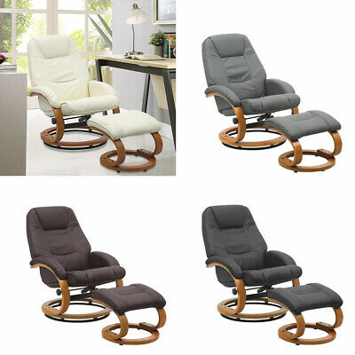 Adjustable Recliner Swivel Leather Armchair Sofa With Stool TV Movies Chair Seat • 189.95£