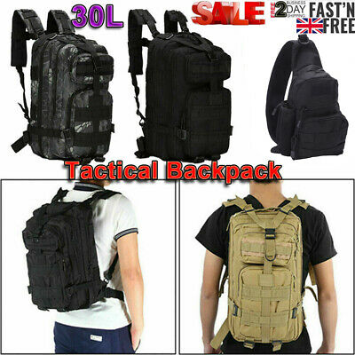 £13.59 • Buy 30L Military Tactical Army Backpack Rucksack Camping Hiking Trekking Outdoor Bag