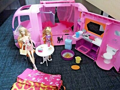 $59.99 • Buy Barbie Glamour Camper RV Pink Vacation Van 2008 Pop Out Tent With Electronics