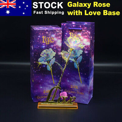 AU17.29 • Buy 24K Gold Foil Galaxy Rose Flower W/ Love Base Valentine's Day Mother's Day Gift