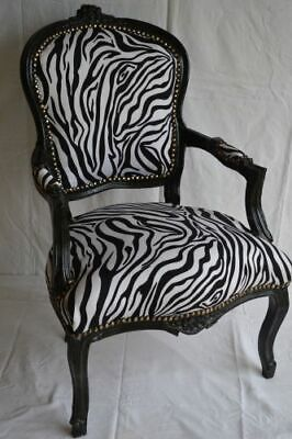 £119 • Buy Louis Xv Arm Chair French Style Chair Vintage Furniture Zebre Black Wood