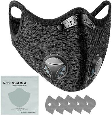 $ CDN19.95 • Buy Black Sport Breathing Mask With 2 Valves And 5 Filters