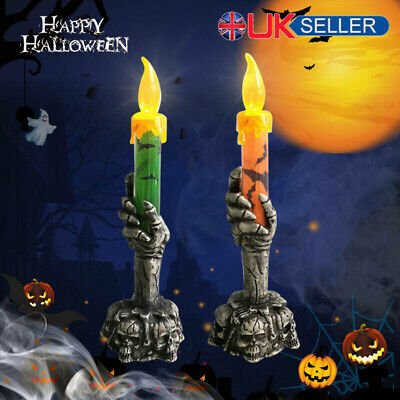 Halloween Skeleton Hand Led Lamp Candle Flame Light Stand Lamp Party Decoration* • 3.99£