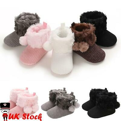Baby Infants Girls Soft Knitted Furry Snow Boots Winter Warm Crib Pram Shoes UK • 6.96£