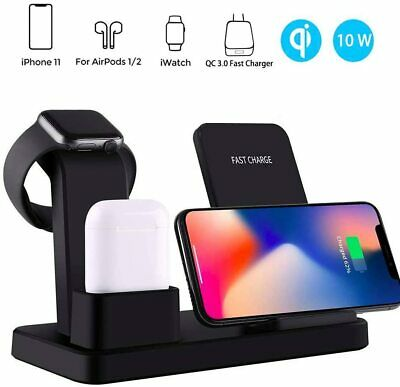 AU49.99 • Buy 3 In 1 Qi Fast Charger Station Wireless Charging Dock For Airpods IWatch IPhone