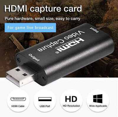 HDMI Video Capture Card USB 2.0/1080p HD Recorder For Video Live Streaming/Game • 7.29£