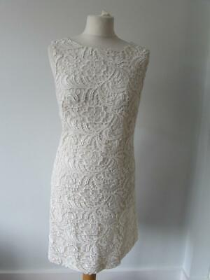 MONSOON Ladies Cream Ivory Crochet Lace Occasion Shift Dress Lined Size 14 VGC • 19.99£