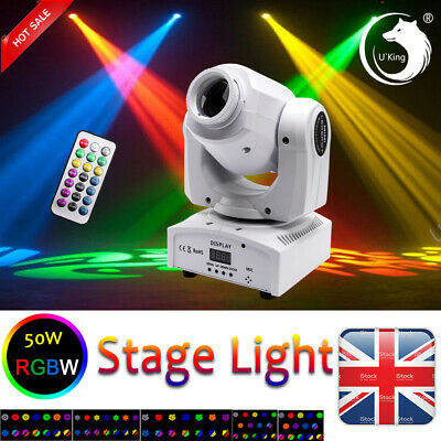 U`King 50W Stage Light LED Moving Head GOBO DMX Remote DJ Wedding Party Disco • 70.99£
