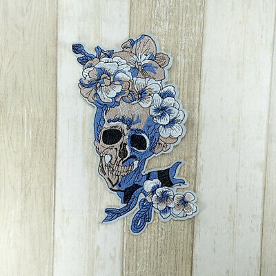 Embroidery Sew Iron On Patch Badge Skull Flower Applique Transfer Dress S2Z • 3.23£