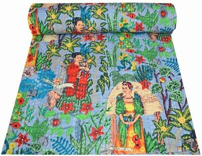 Indian Cotton Frida Kahlo Kantha Quilt Handmade Print Bedspread Blanket Throw • 26.50£
