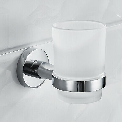 Chrome Toothbrush Tumbler Holder With Glass Cup Wall Mounted Bathroom Accessory. • 14.99£