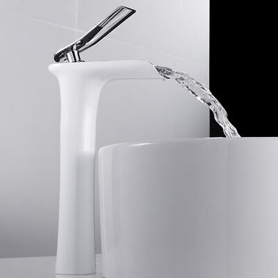 Bathroom Waterfall Basin Mixer Taps Tall Counter Top Brass Faucet White • 36.79£